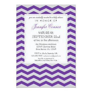 "Elegant Chevron Baby Shower Purple Invitation 5"" X 7"" Invitation Card"