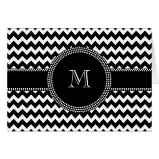 Elegant Chevron Chic Black and White Monogram Card