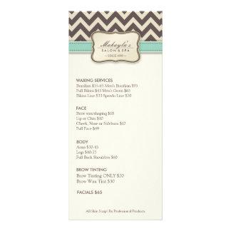 Elegant Chevron Modern beige & green Service Menu Custom Rack Cards