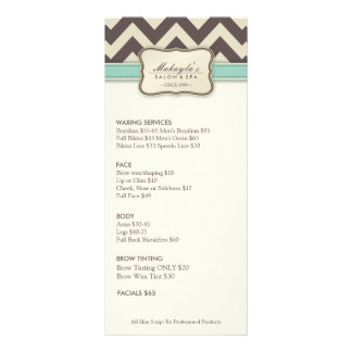 Elegant Chevron Modern beige green Service Menu Customized Rack Card