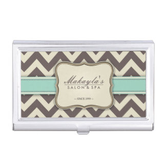 Elegant Chevron Modern Brown, Green and Beige Business Card Holder