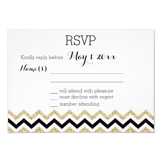 Elegant Chevron Wedding RSVP Cards