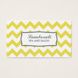 Elegant Chevron Zig Zag Pattern Modern Yellow Business Card