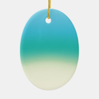 Elegant & Chic Baby Blue Teal Gold Ombre Watercolo Ceramic Oval Ornament