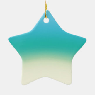 Elegant & Chic Baby Blue Teal Gold Ombre Watercolo Ceramic Star Ornament