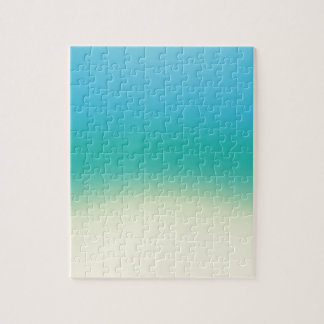 Elegant & Chic Baby Blue Teal Gold Ombre Watercolo Puzzle
