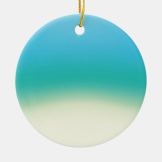 Elegant & Chic Baby Blue Teal Gold Ombre Watercolo Round Ceramic Ornament