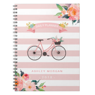 Elegant Chic Bicycle Floral Girly Pink Stripes Spiral Notebook