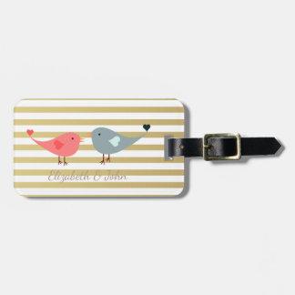 Elegant Chic  Birds  On Stripes Luggage Tag