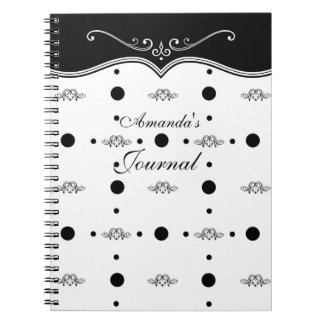 Elegant Chic Black and White Flourish Journal Spiral Note Book