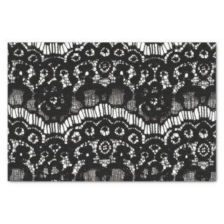 Elegant chic black and white french floral lace tissue paper
