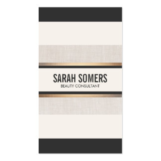 Elegant Chic Black and White Striped Faux Gold Business Card