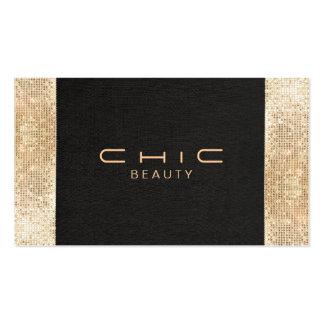 Elegant Chic Black Faux Gold Sequin Beauty Business Card