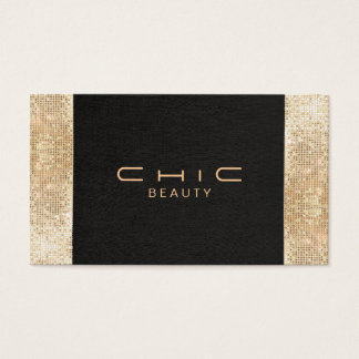 Elegant Chic Black Faux Gold Sequin Beauty Business Card