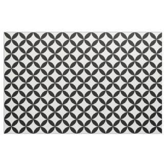 Elegant Chic Black White Retro Mod Circles Pattern Fabric