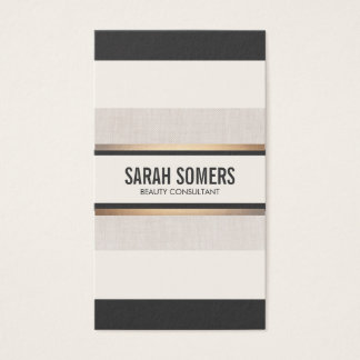 Elegant Chic Black  White Stripes Gold Business Card