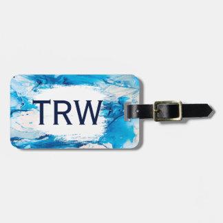 Elegant Chic Blue Marble Monogram Wedding Gift Luggage Tag