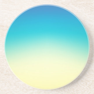 Elegant & Chic Blue Teal Gold Ombre Watercolor Drink Coaster