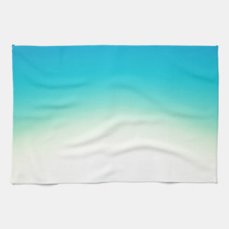 Elegant & Chic Blue Teal Gold Ombre Watercolor Hand Towel