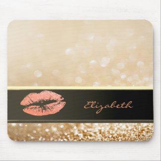 Elegant Chic Bokeh  Glittery Lip-Personalized Mouse Pad