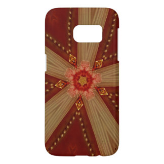 Elegant Chic Classic Red Brown Gold Star Ribbon Samsung Galaxy S7 Case