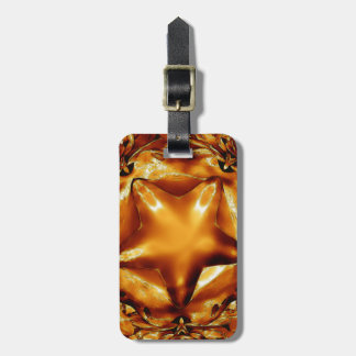 Elegant Chic Copper Gold Christmas Star Luggage Tag