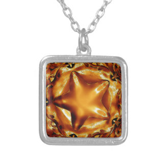Elegant Chic Copper Gold Christmas Star Silver Plated Necklace