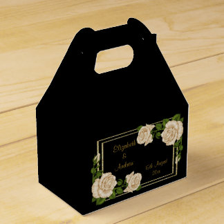 Elegant Chic Corner Ivory Roses Bouquets Wedding Favor Box