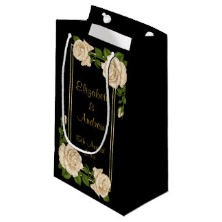 Elegant Chic Corner Ivory Roses Bouquets Wedding Small Gift Bag
