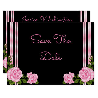 Elegant Chic Corner Rose Bouquet Wedding Card