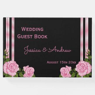 Elegant Chic Corner Rose Bouquet Wedding Guest Book