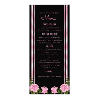 Elegant Chic Corner Rose Bouquet Wedding Menu