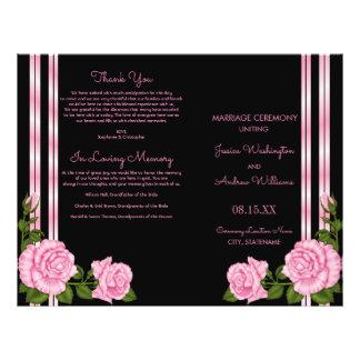 Elegant Chic Corner Rose Bouquet Wedding Program
