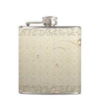 Elegant Chic Damask Lace Pearls Hip Flask