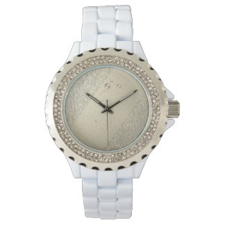 Elegant Chic Damask Lace Pearls Wrist Watches