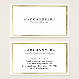 Wedding decor business cards business card printing zazzle ca elegant chic faux foil gold plain white luxury business card junglespirit Gallery