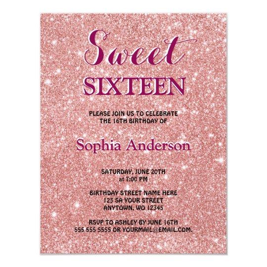 Elegant Chic Faux Glitter Rose Gold Birthday Card