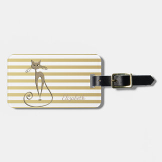 Elegant Chic  Faux Gold Glittery  Cat On Stripes Luggage Tag