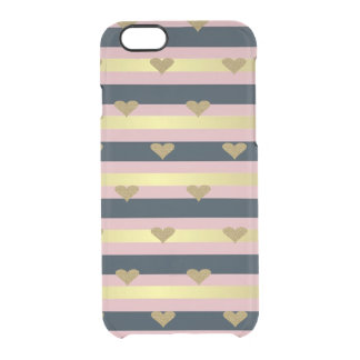 Elegant Chic  Faux Gold Glittery Hearts On Stripes Clear iPhone 6/6S Case