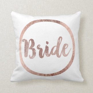 Elegant Chic Faux Rose Gold Bride Typography Throw Pillow