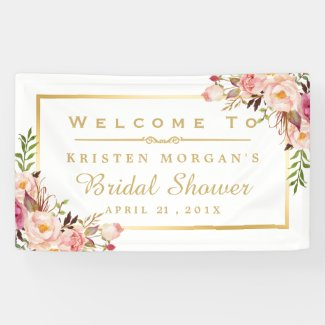 Elegant Chic Floral Gold Frame Bridal Shower Banner
