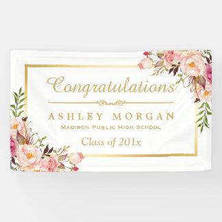Elegant Chic Floral Gold Frame Graduation Party Banner