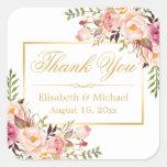 Elegant Chic Floral Gold Frame Thank You Square Sticker