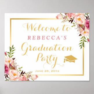 Elegant Chic Floral Graduation Party Sign Poster