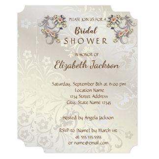 Elegant Chic Flowers Damask  Bridal Shower Card
