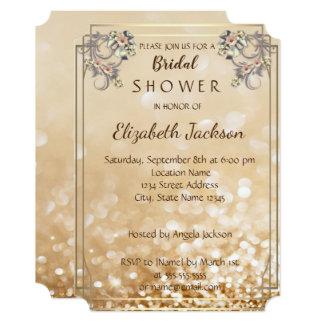 Elegant Chic Flowers Glittery Bokeh  Bridal Shower Card