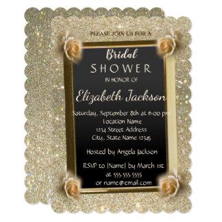 Elegant Chic Glitter,Roses  Bridal Shower Card