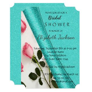 Elegant Chic Glitter  Roses Bridal Shower Card