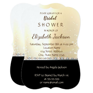 Elegant Chic Gold Black   Bridal Shower Card