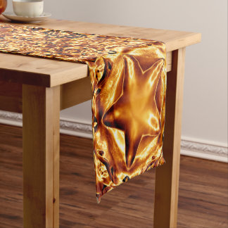 Elegant Chic Gold Copper Shiny Christmas Stars Short Table Runner